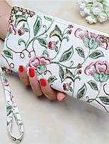 abordables -Mujer Bolsos PU Cartera Bordados para Casual Todo el Año Blanco
