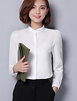 cheap -Women's Daily Casual Blouse,Solid Stand Long Sleeve Polyester