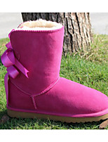 cheap -Women's Shoes Real Leather Nubuck leather Winter Fall Comfort Snow Boots Boots Chunky Heel for Casual Red Brown Coffee Fuchsia Gray