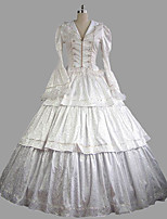 abordables -Rococo Victorien Costume Femme Adulte Tenue Blanc Vintage Cosplay Satin Manches Longues