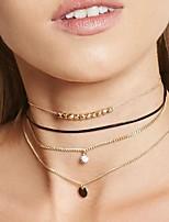abordables -Femme Forme de Cercle Sexy Mode Collier court /Ras-du-cou Collier multi rangs Diamant synthétique Imitation Diamant Alliage Collier court