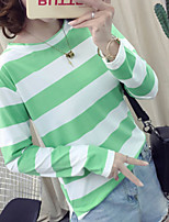 cheap -Women's Daily Casual Fall T-shirt,Print Round Neck Long Sleeve Polyester Thin