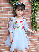 cheap -Girl's Birthday Flower/Floral Dress,Polyester Summer ½ Length Sleeve Cute Active Blue