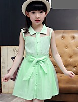 cheap -Girl's Daily Solid Dress,Cotton Summer Sleeveless Casual Green