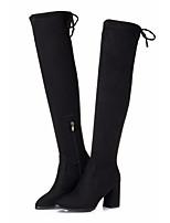 Недорогие -Жен. Обувь Полиуретан Зима Осень Удобная обувь Модная обувь Ботинки На толстом каблуке Сапоги выше колена для Повседневные Черный