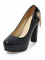 preiswerte -Damen Schuhe Kunstleder Frühling Herbst Komfort Neuheit High Heels Blockabsatz Runde Zehe Strass für Normal Kleid Weiß Schwarz Beige