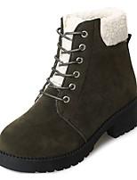 preiswerte -Damen Schuhe Nubukleder Frühling Springerstiefel Stiefel Blockabsatz Runde Zehe Mittelhohe Stiefel für Normal Schwarz Braun Armeegrün