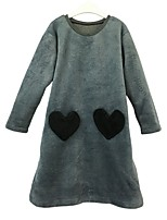 cheap -Girl's Daily Solid Color Block Stripes/Ripples Dress,Cotton Spring Fall Long Sleeves Casual Gray