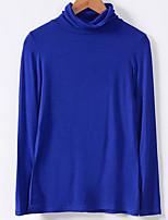 preiswerte -Damen Solide T-shirt, Rollkragen Baumwolle