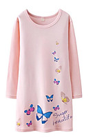 cheap -Girl's Print Dress Long Sleeve Street chic Fuchsia Blushing Pink White Green