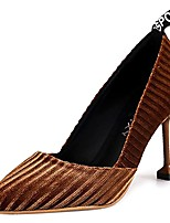 cheap -Women's Shoes Flocking Spring Fall Comfort Heels Stiletto Heel for Outdoor Black Brown Green