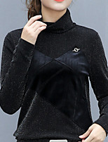 cheap -Women's Daily Casual Winter Fall T-shirt,Solid Turtleneck Long Sleeve Polyester Opaque