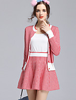 cheap -Women's Daily Casual All Seasons Set Skirt Suits,Print Round Neck Long Sleeve Polyester