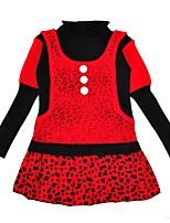 abordables -Robe Fille de Quotidien Imprimés Lé+D5563opard Coton Hiver Manches Longues Décontracté Chinoiserie Rouge