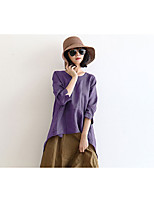 cheap -Women's Casual/Daily Street chic T-shirt,Solid Round Neck Long Sleeves Cotton Linen