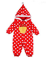 cheap -Baby Girls' Polka Dot One-Pieces, Cotton Spring Long Sleeves Red