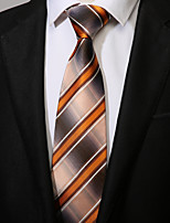 cheap -Men's Polyester Necktie,Casual Striped All Seasons Brown