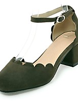 cheap -Women's Shoes Leatherette Spring Summer Comfort Heels Chunky Heel Square Toe Buckle for Party & Evening Dress Pink Green Beige Black