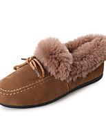 abordables -Femme Chaussures Cuir Nubuck Polyuréthane Printemps Automne Confort Bottes de neige Bottes Talon Plat Bottine/Demi Botte pour Décontracté