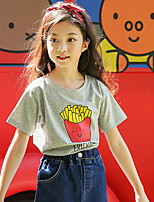 cheap -Girls' Print Tee,Cotton All Seasons Short Sleeve Simple Gray White
