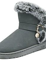 abordables -Mujer Zapatos Vellón Invierno Confort Botas de nieve Botas Tacón Plano Dedo redondo Mitad de Gemelo para Casual Negro Gris