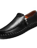 baratos -Homens sapatos Pele Primavera Outono Conforto Mocassins e Slip-Ons para Casual Preto Amarelo Marron
