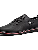 cheap -Men's Shoes Nappa Leather Winter Fall Comfort Oxfords for Outdoor Black Red Khaki