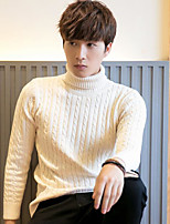 cheap -Men's Daily Going out Cute Casual Short Pullover,Solid Turtleneck Long Sleeves Polyester Winter Fall Thick Micro-elastic
