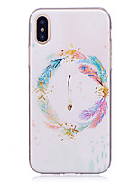 cheap -Case For Apple iPhone X iPhone 8 IMD Pattern Back Cover Feathers Soft TPU for iPhone X iPhone 8 Plus iPhone 8 iPhone 7 Plus iPhone 7