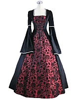 cheap -Rococo Victorian Costume Women's Adults' One Piece Dress Blue/Black Vintage Cosplay Flocking Reasonable Pleuche Long Sleeves Bell Ankle