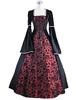 preiswerte -Rokoko Viktorianisch Kostüm Damen Erwachsene Einteilig Kleid Blau/Schwarz Vintage Cosplay Annehmbare Beflockung Plüsch Langarm Glocke