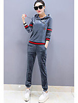 cheap -Women's Casual/Daily Simple Fall Hoodie Pant Suits,Color Block Hooded Long Sleeves Polyester