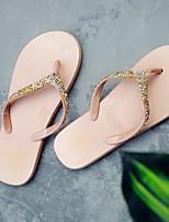 Недорогие -Для женщин Обувь ПВХ Лето Удобная обувь Тапочки и Шлепанцы Плоские Круглый носок для Повседневные Золотой Черный Миндальный