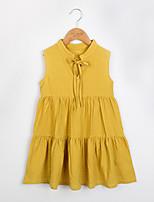 Недорогие -Девичий Платье Повседневные Хлопок Однотонный Лето Без рукавов Очаровательный Желтый