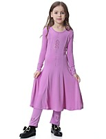 cheap -Girl's Daily Holiday Solid Heart Dress,Polyester Spandex Spring Fall Long Sleeves Vintage Cute Lavender Light Blue Fuchsia Black