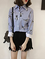 cheap -Women's Daily Casual All Seasons Shirt,Striped Shirt Collar Long Sleeve Polyester Medium