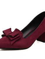 Women's Shoes Nubuck leather PU Spring Fall Comfort Heels Chunky Heel for Casual Burgundy Blue Black