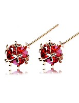 cheap -Women's Stud Earrings Synthetic Ruby Simple Zircon Copper Circle Jewelry Christmas Party Costume Jewelry