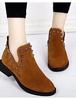Недорогие -Для женщин Обувь Натуральная кожа Нубук Весна Осень Удобная обувь Ботильоны Ботинки Блочная пятка для Повседневные Черный Коричневый