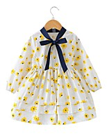 cheap -Girl's Daily Floral Dress,Cotton Polyester Spring Long Sleeves Simple Yellow