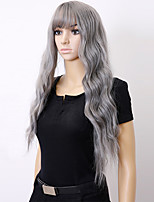 cheap -Air Bangs Corn Fluffy Wig Womens Long Curly Puffy Gray Big Wave Egg Roll Wig set 28inch