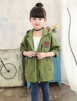 cheap -Girls' Daily School Solid Simple Embellished&Embroidered Trench Coat,Cotton Polyester Long Sleeves Cute Casual Green
