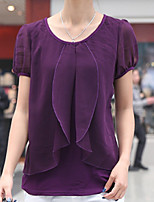 cheap -Women's Daily Casual Summer Blouse,Solid Round Neck Short Sleeve Cotton