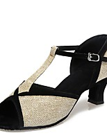 "cheap -Women's Latin Paillette Sandal Indoor Chunky Heel Blue Dark Brown Silver Gold 2"" - 2 3/4"" Customizable"