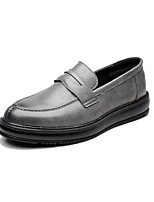 cheap -Men's Shoes Leather Spring Fall Comfort Loafers & Slip-Ons for Casual Office & Career Brown Gray Black