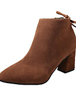 cheap -Women's Shoes Nubuck leather Spring Fall Comfort Bootie Boots Chunky Heel for Casual Burgundy Dark Brown Gray Black