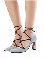 Недорогие -Жен. Обувь Полиуретан Осень Удобная обувь Обувь на каблуках На толстом каблуке Закрытый мыс для Повседневные Черный Пурпурный Светло-синий