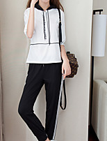 cheap -Women's Going out Simple Winter Hoodie Pant Suits,Solid Hooded Long Sleeves Polyester