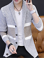 cheap -Men's Holiday Going out Regular Cardigan,Striped Round Neck Long Sleeves Polyester Spring/Fall Thin Micro-elastic