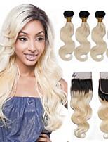 economico -4 pezzi Nero / Bleach Blonde Ondulato naturale Brasiliano Tessiture capelli umani Extensions per capelli 0.4kg